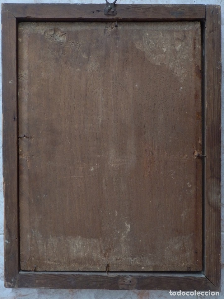 Arte: Santa Verónica Giuliani. Oleo sobre tabla del siglo XVII con marco de época. 47 x 36 cm. - Foto 8 - 118595195