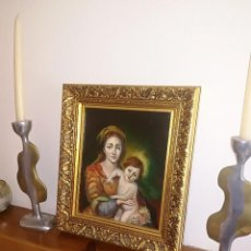 Arte: VIRGEN Y NIÑO - PINTURA AL OLEO - FIRMADO - MEDIDAS; 37 X 32 CMS.. Lote 118634307