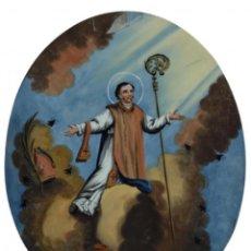 Arte: ÓLEO SOBRE CRISTAL. SAN NARCISO S.XIX GRAN TAMAÑO. Lote 118673823
