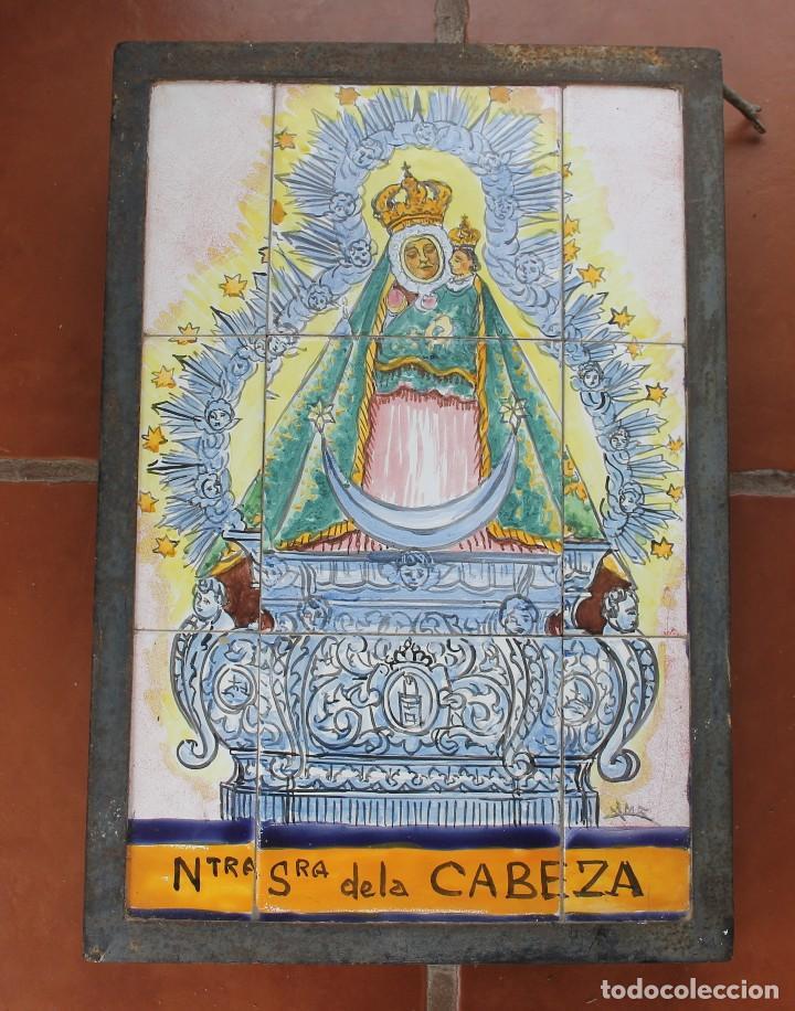 PANEL AZULEJOS CERAMICA PINTADO A MANO SIGLO XX VIRGEN DE LA CABEZA PATRONA ANDUJAR DIOCESIS JAEN (Arte - Arte Religioso - Pintura Religiosa - Otros)