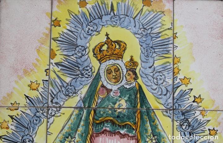 Arte: PANEL AZULEJOS CERAMICA PINTADO A MANO SIGLO XX VIRGEN DE LA CABEZA PATRONA ANDUJAR DIOCESIS JAEN - Foto 2 - 118692451