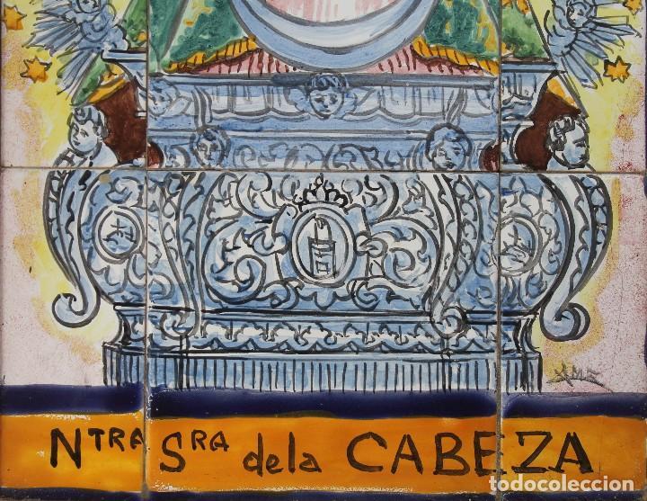 Arte: PANEL AZULEJOS CERAMICA PINTADO A MANO SIGLO XX VIRGEN DE LA CABEZA PATRONA ANDUJAR DIOCESIS JAEN - Foto 3 - 118692451