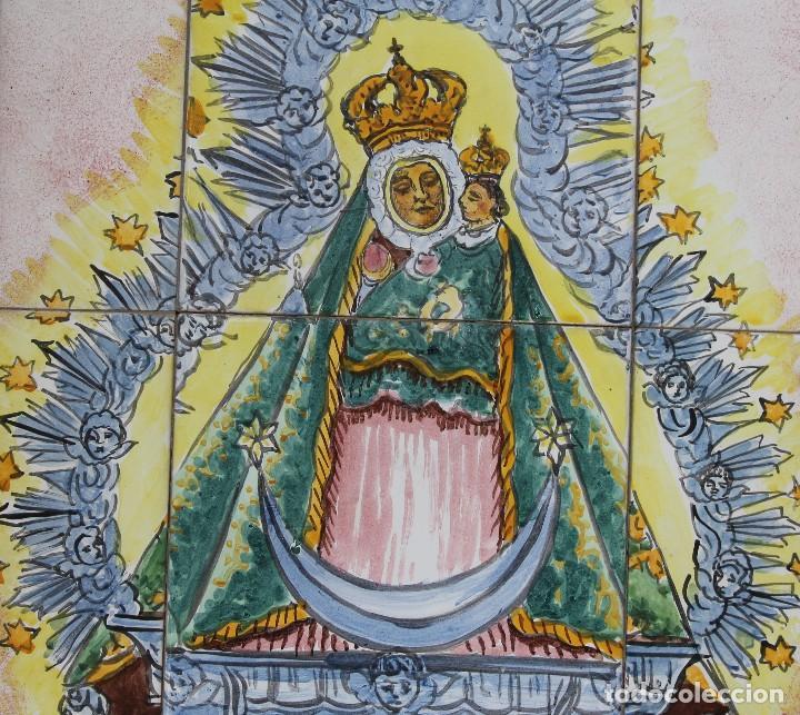 Arte: PANEL AZULEJOS CERAMICA PINTADO A MANO SIGLO XX VIRGEN DE LA CABEZA PATRONA ANDUJAR DIOCESIS JAEN - Foto 4 - 118692451