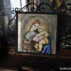 Arte: GRAN TAMAÑO AZULEJO RETABLO RELIGIOSO CERAMICA PINTADO A MANO ESMALTADO FORJA VIRGEN Y NIÑO JESUS . Lote 118698595