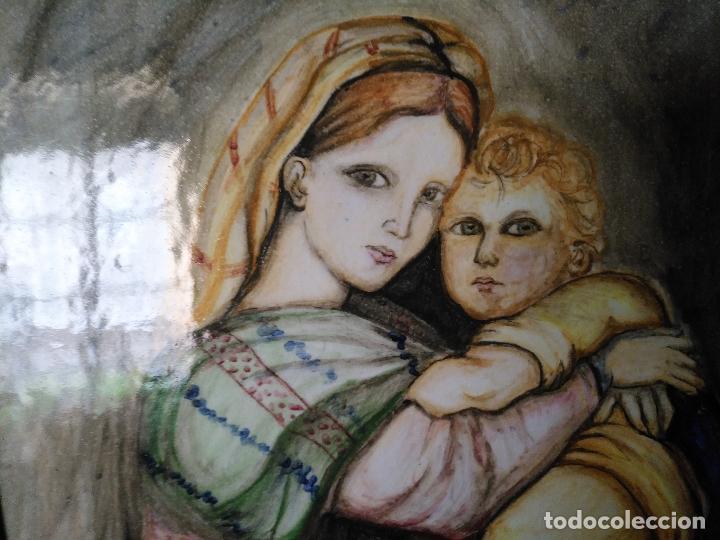 Arte: gran tamaño azulejo retablo religioso ceramica pintado a mano esmaltado forja virgen y niño jesus - Foto 5 - 118698595