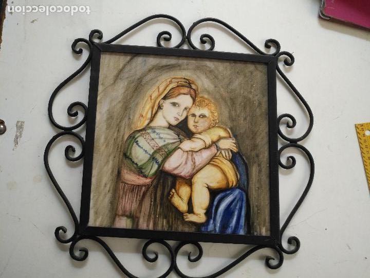 Arte: gran tamaño azulejo retablo religioso ceramica pintado a mano esmaltado forja virgen y niño jesus - Foto 7 - 118698595