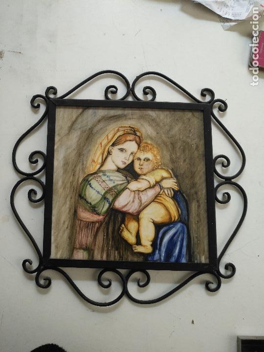Arte: gran tamaño azulejo retablo religioso ceramica pintado a mano esmaltado forja virgen y niño jesus - Foto 8 - 118698595