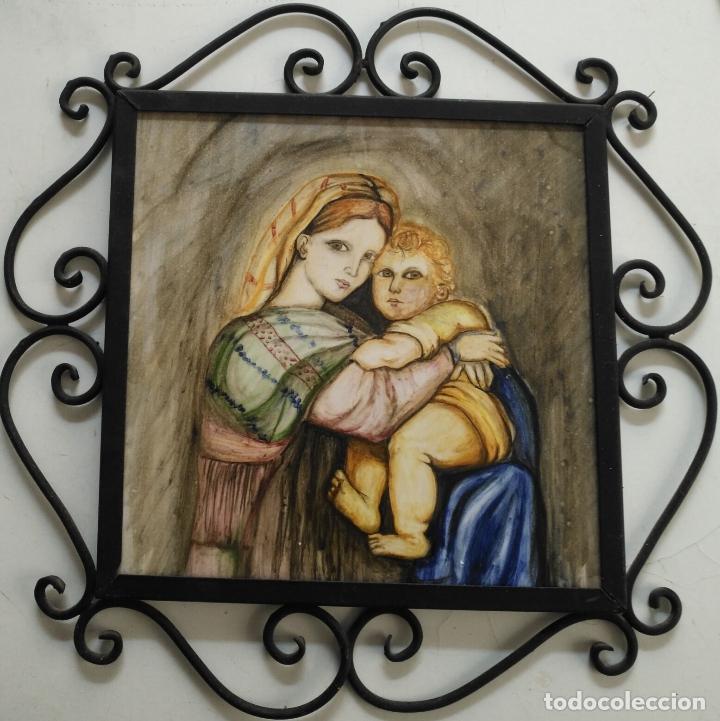 Arte: gran tamaño azulejo retablo religioso ceramica pintado a mano esmaltado forja virgen y niño jesus - Foto 9 - 118698595