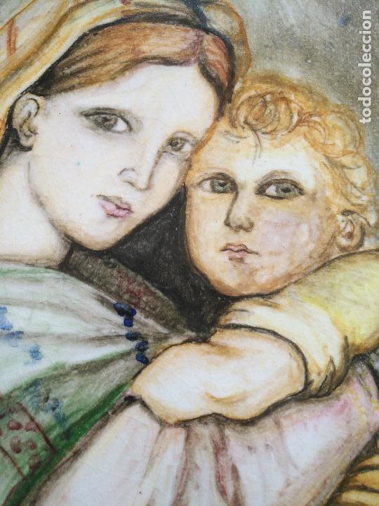 Arte: gran tamaño azulejo retablo religioso ceramica pintado a mano esmaltado forja virgen y niño jesus - Foto 13 - 118698595