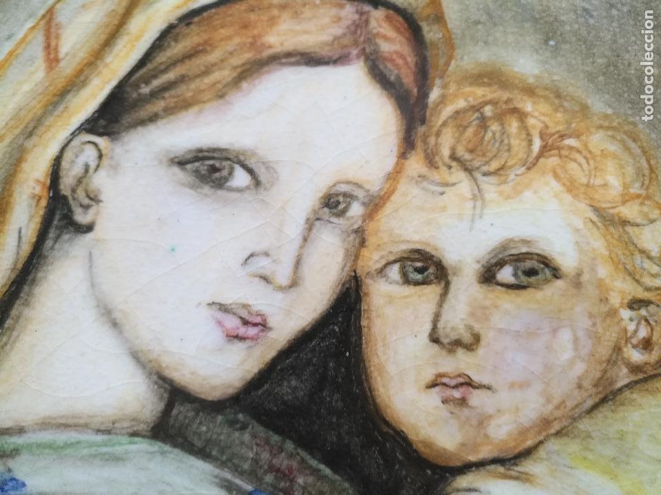 Arte: gran tamaño azulejo retablo religioso ceramica pintado a mano esmaltado forja virgen y niño jesus - Foto 19 - 118698595