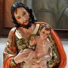 Arte: ESCULTURA SAN JOSE NIÑO JESUS Y LA VIRGEN MARIA 1 METRO 20 DE ALTURA . Lote 118730695