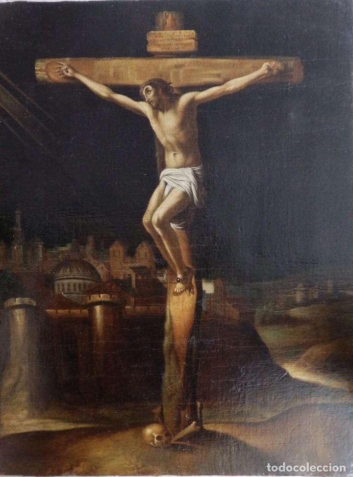CRISTO CRUCIFICADO. ÓLEO SOBRE LIENZO. ESCUELA ESPAÑOLA. SIGLO XVII. (Arte - Arte Religioso - Pintura Religiosa - Oleo)