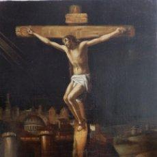 Arte: CRISTO CRUCIFICADO. ÓLEO SOBRE LIENZO. ESCUELA ESPAÑOLA. SIGLO XVII.. Lote 118749647