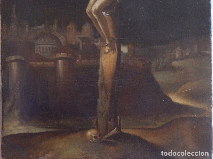 Arte: Cristo Crucificado. Óleo sobre lienzo. Escuela española. Siglo XVII. - Foto 3 - 118749647