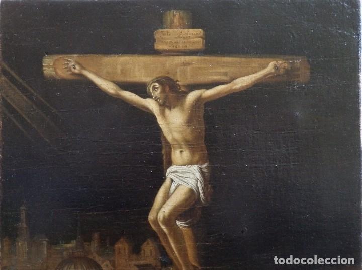 Arte: Cristo Crucificado. Óleo sobre lienzo. Escuela española. Siglo XVII. - Foto 4 - 118749647