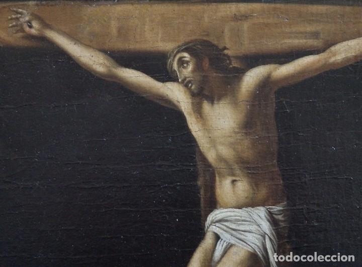 Arte: Cristo Crucificado. Óleo sobre lienzo. Escuela española. Siglo XVII. - Foto 5 - 118749647