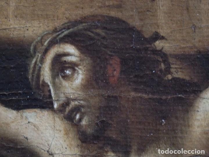 Arte: Cristo Crucificado. Óleo sobre lienzo. Escuela española. Siglo XVII. - Foto 8 - 118749647