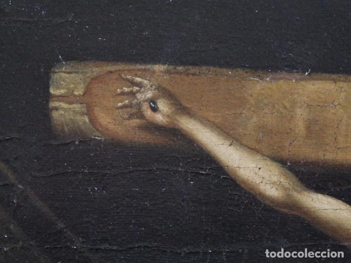 Arte: Cristo Crucificado. Óleo sobre lienzo. Escuela española. Siglo XVII. - Foto 9 - 118749647