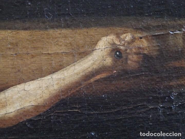 Arte: Cristo Crucificado. Óleo sobre lienzo. Escuela española. Siglo XVII. - Foto 10 - 118749647