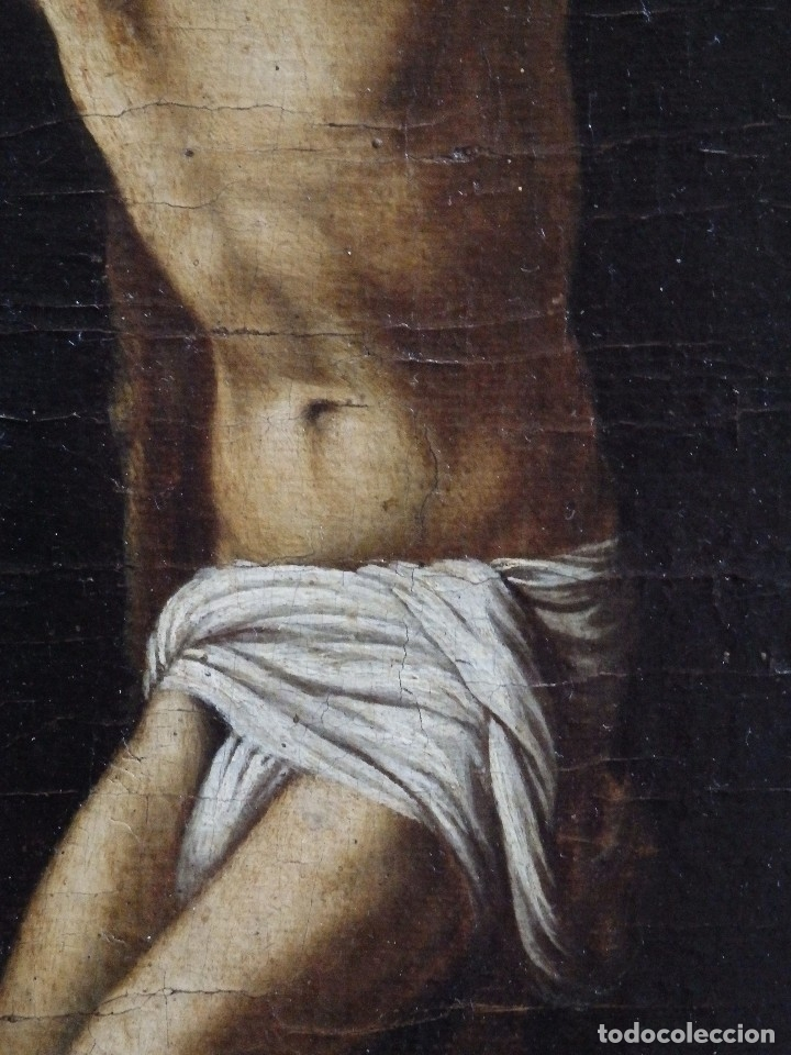 Arte: Cristo Crucificado. Óleo sobre lienzo. Escuela española. Siglo XVII. - Foto 13 - 118749647