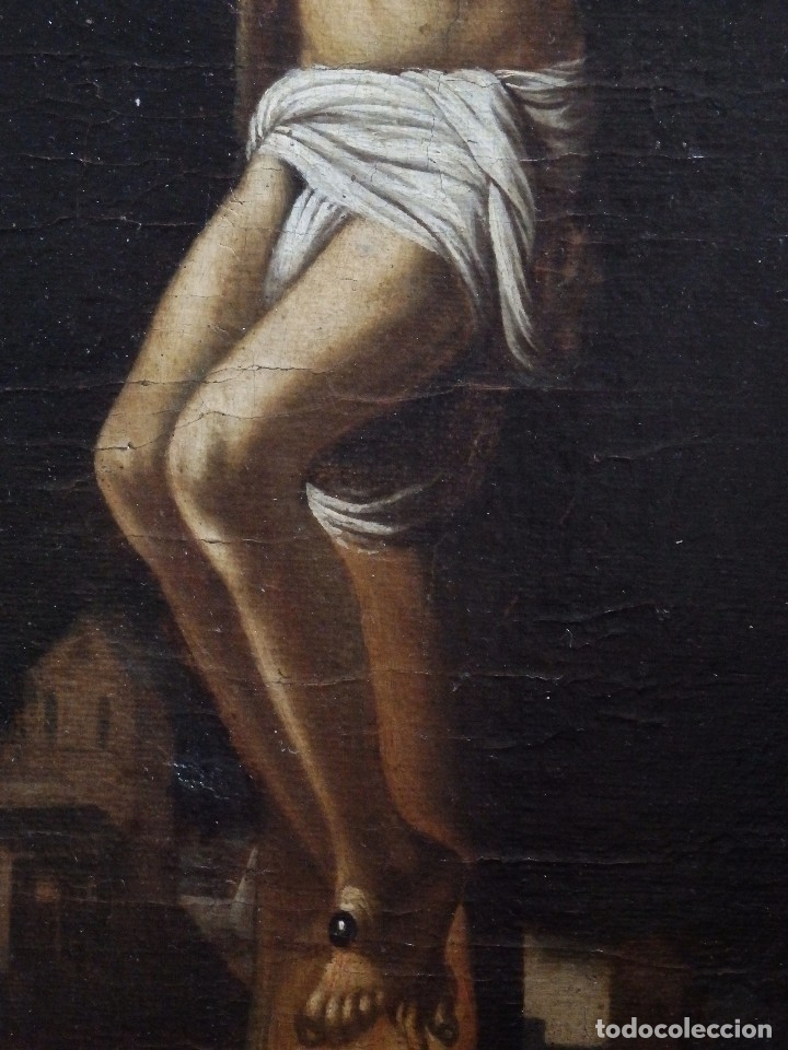 Arte: Cristo Crucificado. Óleo sobre lienzo. Escuela española. Siglo XVII. - Foto 15 - 118749647
