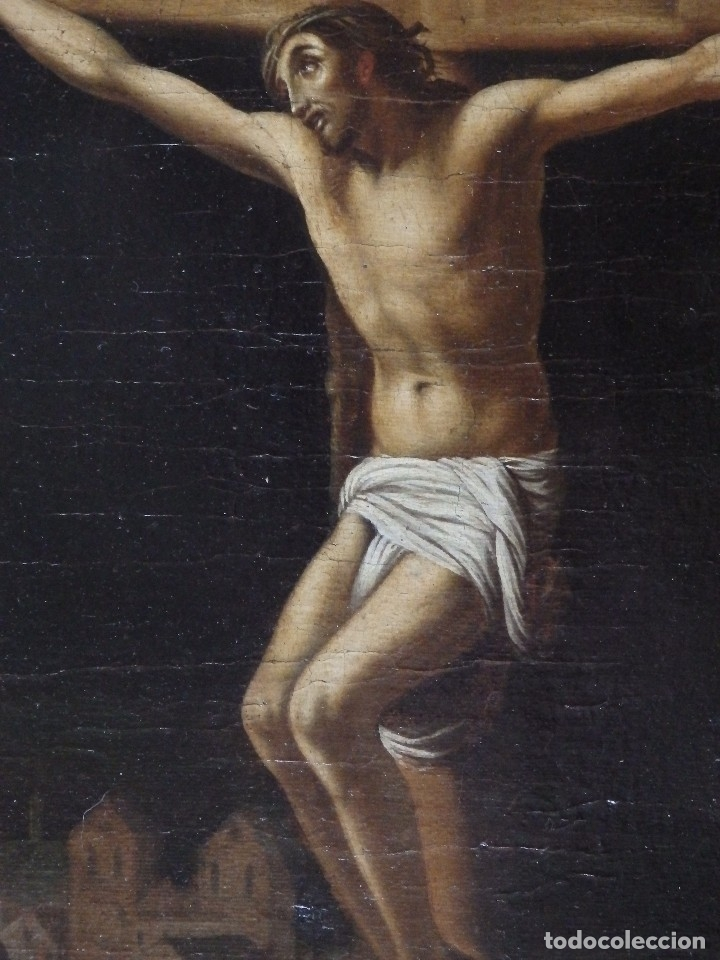 Arte: Cristo Crucificado. Óleo sobre lienzo. Escuela española. Siglo XVII. - Foto 27 - 118749647