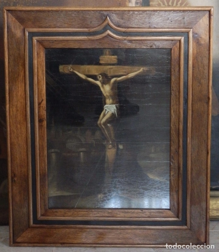 Arte: Cristo Crucificado. Óleo sobre lienzo. Escuela española. Siglo XVII. - Foto 31 - 118749647