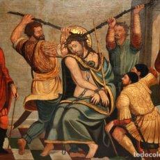 Arte: IMPORTANTE RETABLO PINTADO SOBRE TABLA DEL SIGLO XVI. ESCENA CON EL ECCE HOMO. Lote 118804007