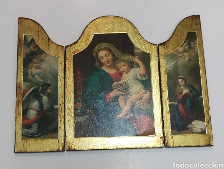 MAGNÍFICO RETABLO TRÍPTICO RELIGIOSO 65 CM X 48 CM (Arte - Arte Religioso - Trípticos)