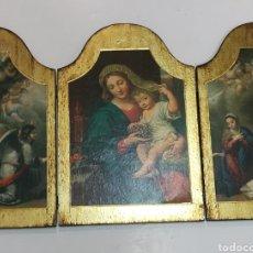 Arte: MAGNÍFICO RETABLO TRÍPTICO RELIGIOSO 65 CM X 48 CM. Lote 118893094