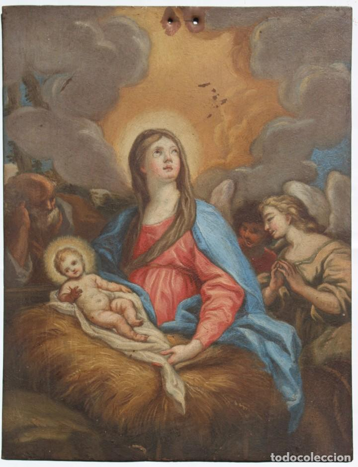 ÓLEO SOBRE COBRE- VIRGEN CON NIÑO. S XVIII 17,5 CM X 23 CM (Arte - Arte Religioso - Pintura Religiosa - Oleo)