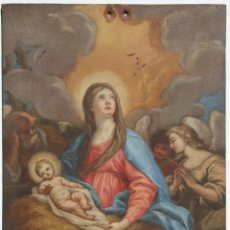 Arte: ÓLEO SOBRE COBRE- VIRGEN CON NIÑO. S XVIII 17,5 CM X 23 CM. Lote 118894751