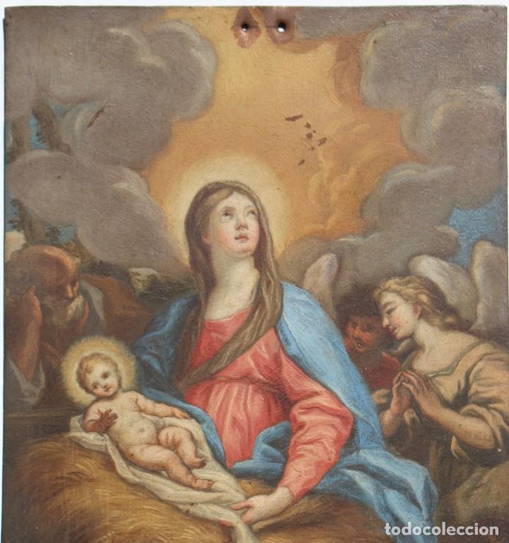 Arte: ÓLEO SOBRE COBRE- VIRGEN CON NIÑO. S XVIII 17,5 cm x 23 cm - Foto 4 - 118894751