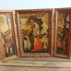 Art: TRIPTICO RELIGIOSO EN MADERA POLICROMADA Y DORADA DEFECTOS. Lote 118945595