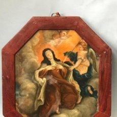 Arte: OLEO SOBRE COBRE DEL SIGLO XVIII. SANTA TERESA DE JESUS. LA TRANSVERSACION.. Lote 119027943