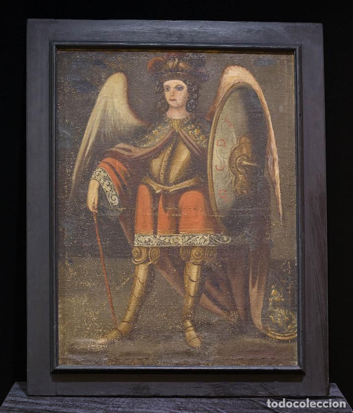 SAN MIGUEL ARCÁNGEL. ESCUELA COLONIAL, S. XVII. ÓLEO SOBRE LIENZO CON MARCO NEGRO DE ÉPOCA. (Arte - Arte Religioso - Pintura Religiosa - Oleo)