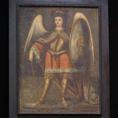 Arte: SAN MIGUEL ARCÁNGEL. ESCUELA COLONIAL, S. XVII. ÓLEO SOBRE LIENZO CON MARCO NEGRO DE ÉPOCA.. Lote 119050919