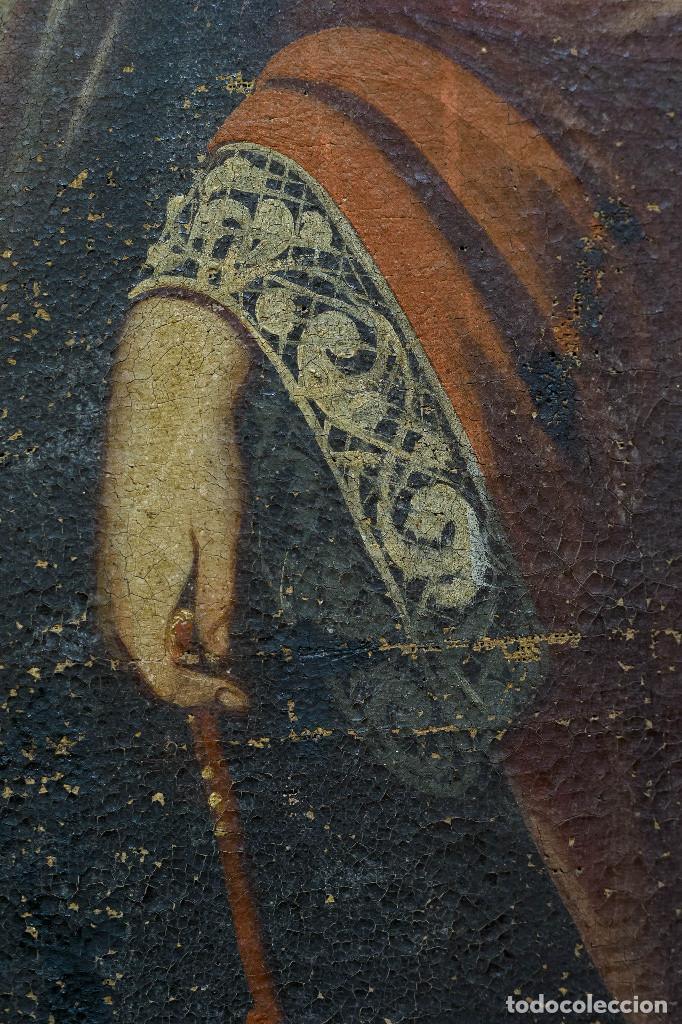 Arte: San Miguel Arcángel. Escuela colonial, s. XVII. Óleo sobre lienzo con marco negro de época. - Foto 3 - 119050919