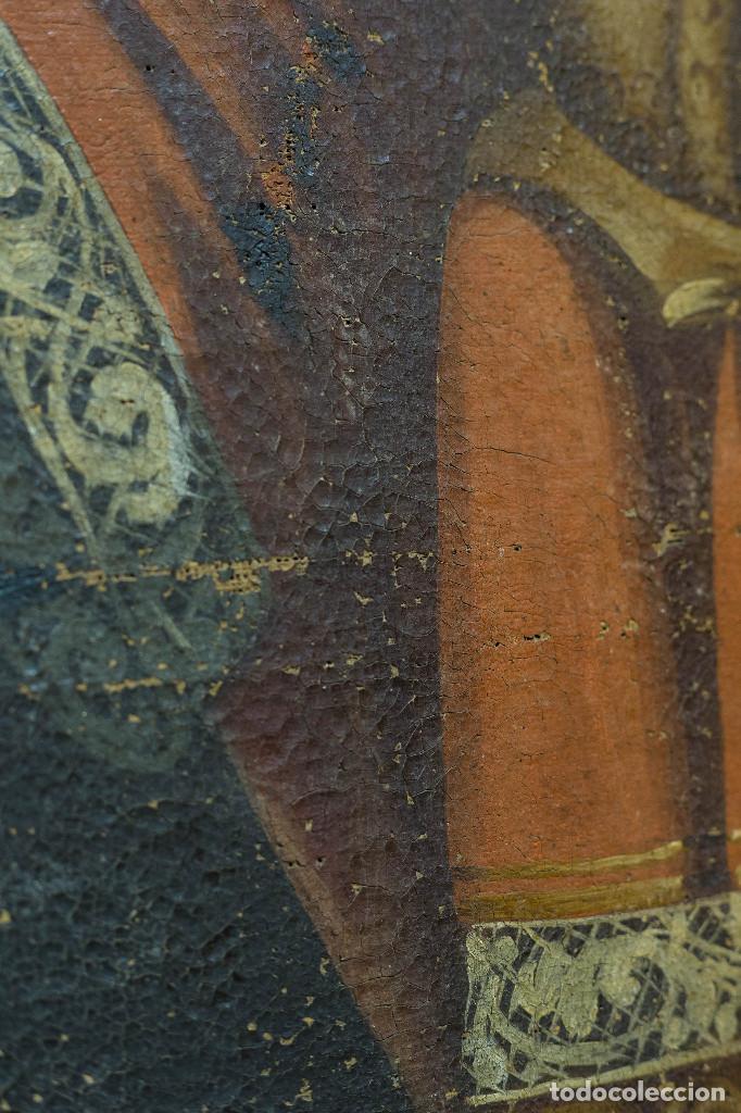 Arte: San Miguel Arcángel. Escuela colonial, s. XVII. Óleo sobre lienzo con marco negro de época. - Foto 4 - 119050919