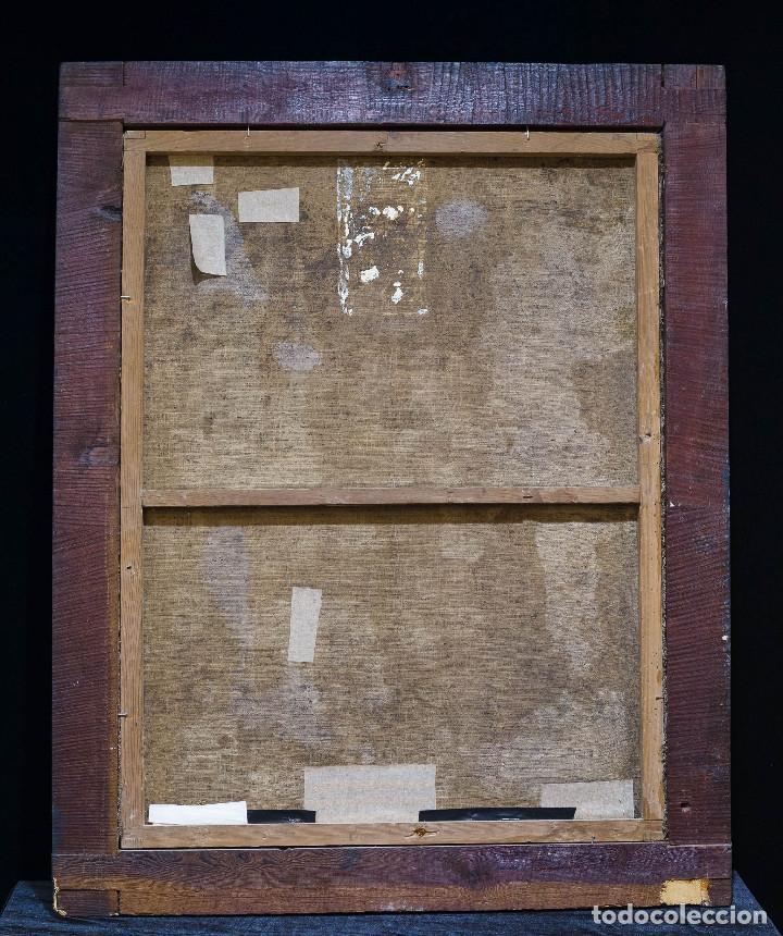 Arte: San Miguel Arcángel. Escuela colonial, s. XVII. Óleo sobre lienzo con marco negro de época. - Foto 5 - 119050919