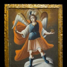 Arte: SAN MIGUEL ARCÁNGEL. ESCUELA COLONIAL, S. XVII. ÓLEO SOBRE LIENZO CON NOTABLE MARCO DORADO CORLEADO.. Lote 119050971