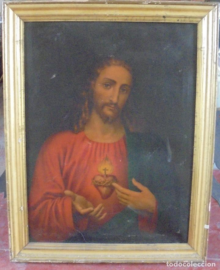 CUADRO. CORAZON DE JESUS. MEDIDAS: 70 X 90 CM. VER FOTOS (Arte - Arte Religioso - Pintura Religiosa - Otros)