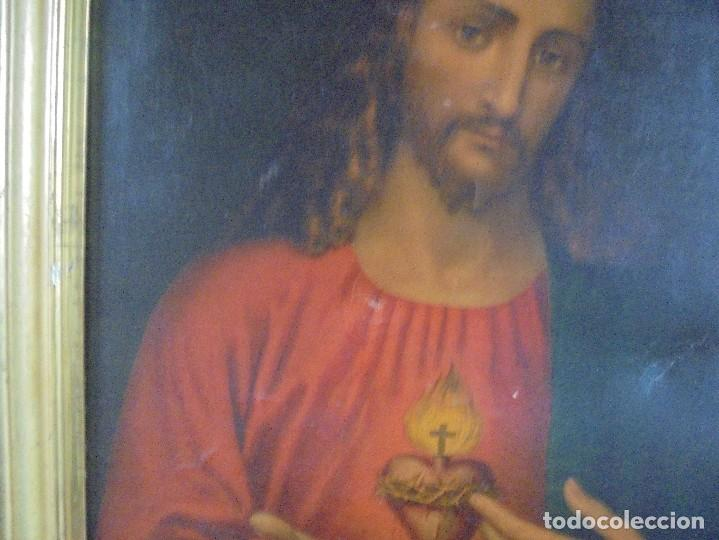 Arte: CUADRO. CORAZON DE JESUS. MEDIDAS: 70 X 90 CM. VER FOTOS - Foto 3 - 119079127