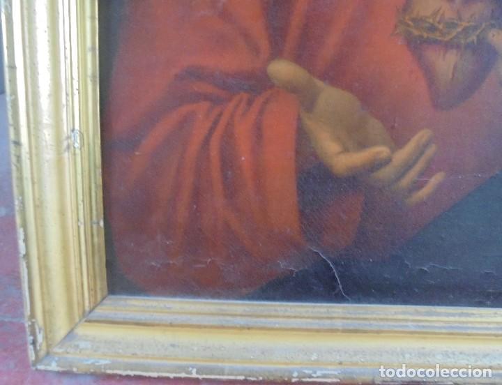 Arte: CUADRO. CORAZON DE JESUS. MEDIDAS: 70 X 90 CM. VER FOTOS - Foto 5 - 119079127