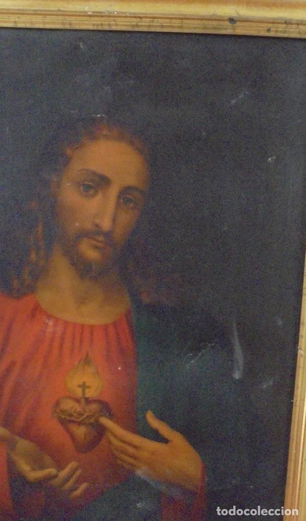 Arte: CUADRO. CORAZON DE JESUS. MEDIDAS: 70 X 90 CM. VER FOTOS - Foto 7 - 119079127