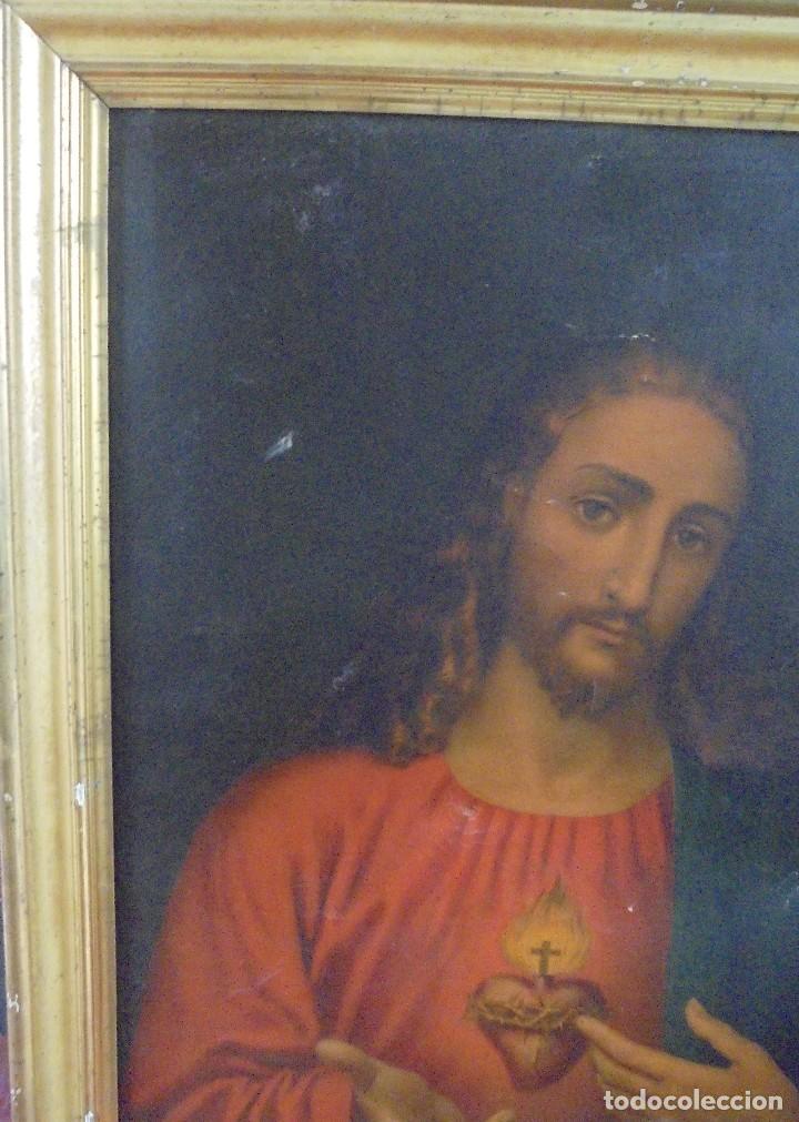 Arte: CUADRO. CORAZON DE JESUS. MEDIDAS: 70 X 90 CM. VER FOTOS - Foto 8 - 119079127