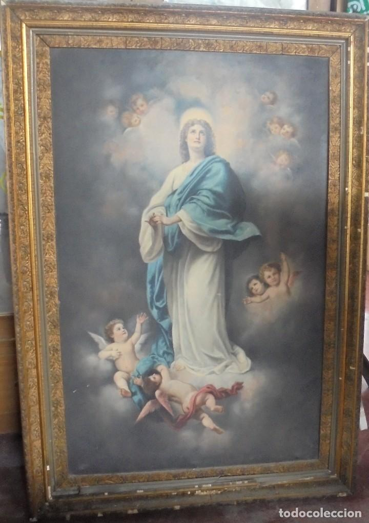 CUADRO. MARIA INMACULADA. MEDIDAS: 140 X 97 CM. VER FOTOS (Arte - Arte Religioso - Pintura Religiosa - Otros)