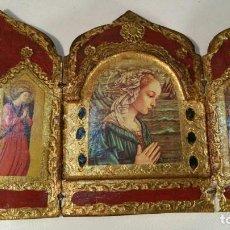 Art: ANTIGUO TRIPTICO RELIGIOSO EN MADERA POLICROMADA Y DORADA. Lote 119119739