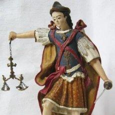 Arte: SIGLO XIX - ESCULTURA UNICA - SAN MIGUEL ARCANGEL Y SATANAS - TALLA TERRACOTA POLICROMADA. Lote 119234715