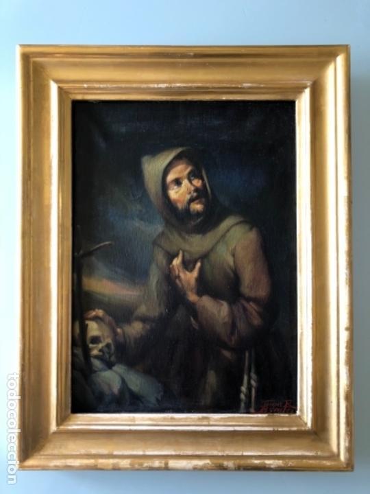 Arte: ÓLEO SOBRE TELA, SAN FRANCISCO DE ASIS, FIRMADO JUAN R. BENiTEZ, PRIMEROS SIGLO XX, ESC. SEVILLANA ? - Foto 2 - 119268575